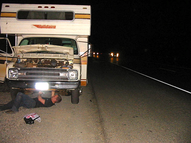 rv broken down by side of road