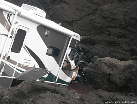 rv stuck on side of mountain