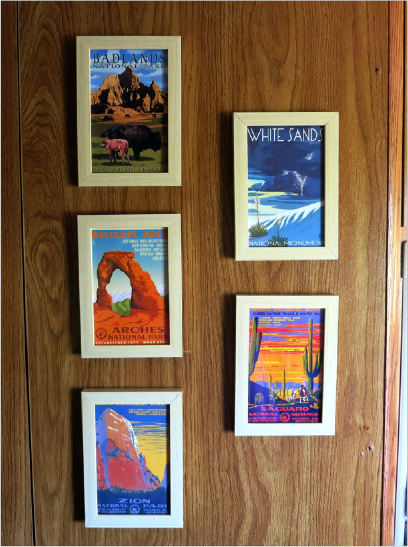 unique picture frames hanging in an rv