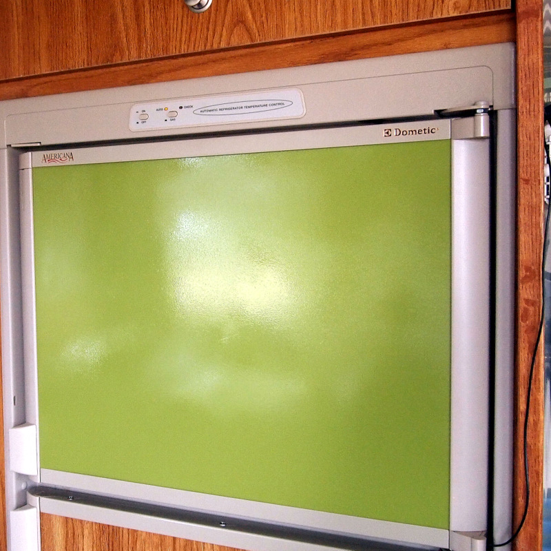 A brand new magnetic-paneled fridge