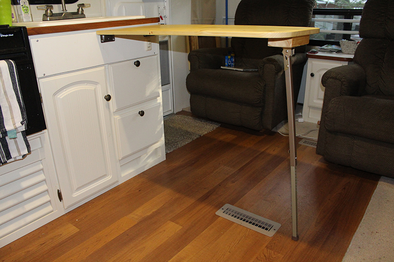 Completed table in extended position