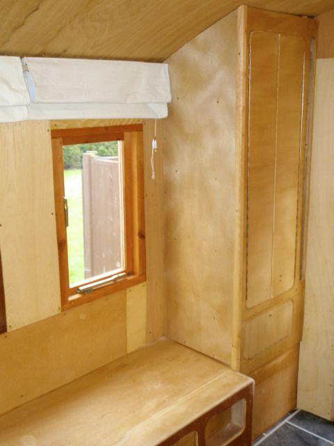 Hardwood lined interior