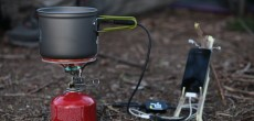 PowerPot charging an iPhone in the field