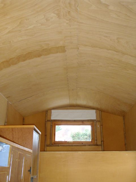 You can see the grain in the ceiling and the bamboo trim