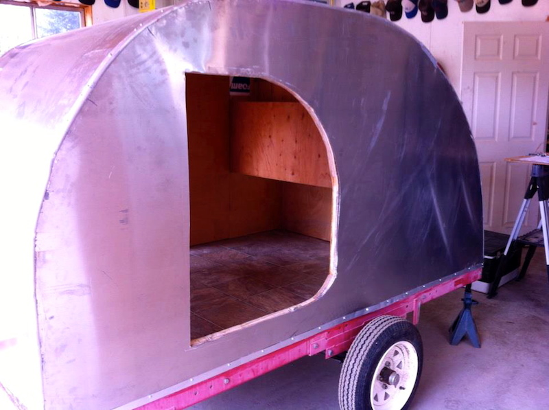 cut out for the door to the tear drop camper