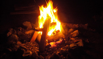 fire burning brightly