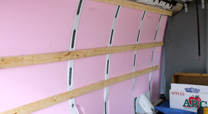 foam board insulation installed in a conversion van