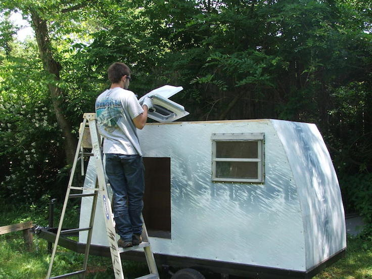 getting the roof vent in place on the tear drop camper