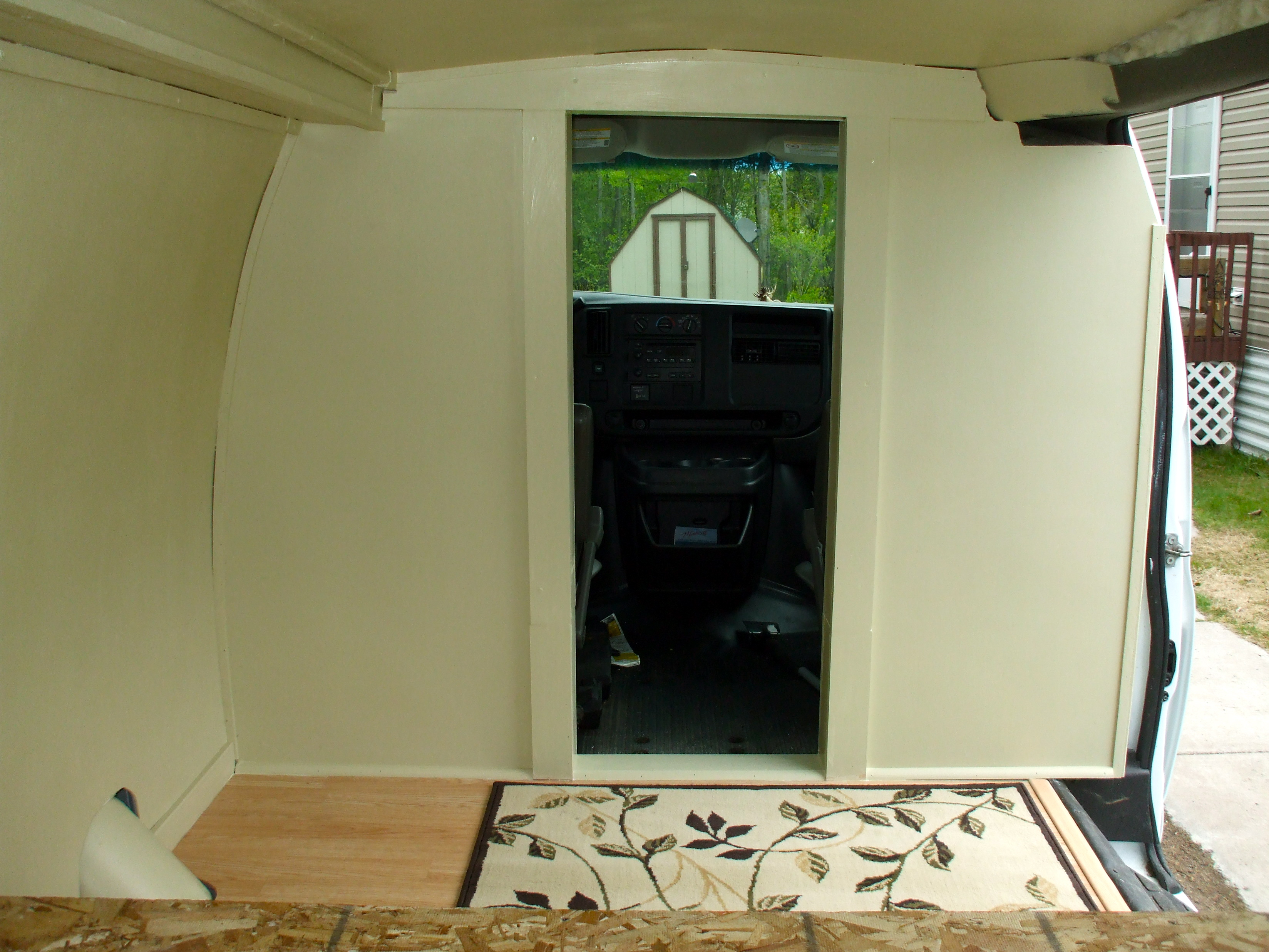 interior of van painted with flooring