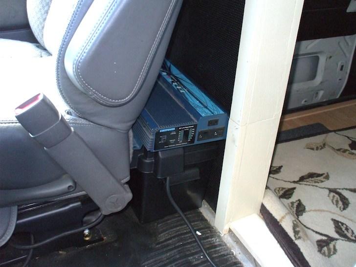 inverter and battery behind passengers seat in van