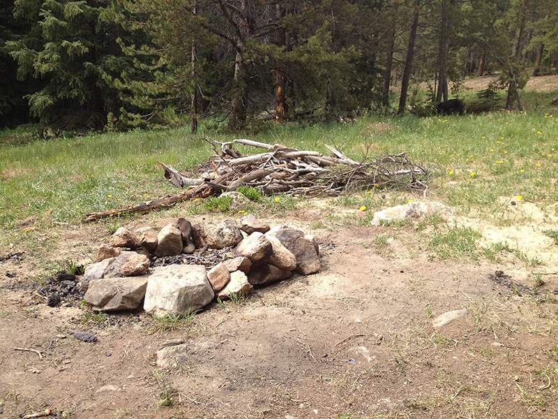 remnants of a fire pit