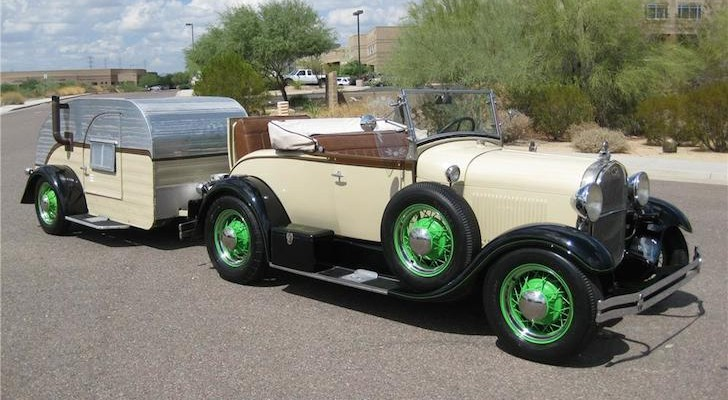 You'll Be So Ready to Drive This 1929 Ford Model A Roadster When You See Its Matching Vintage Teardrop Trailer.