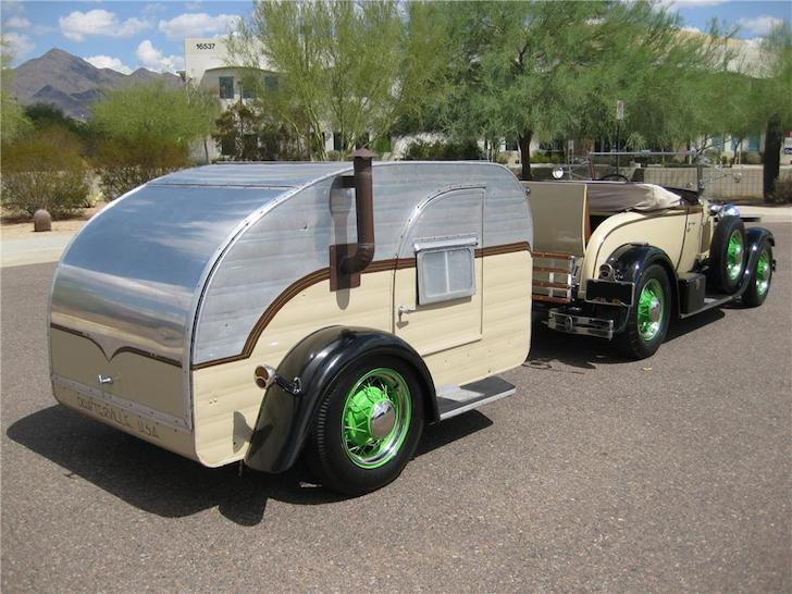 1929 Model A Roadster and teardrop camper