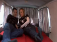 Adorable couple and their convertible van camper motorhome
