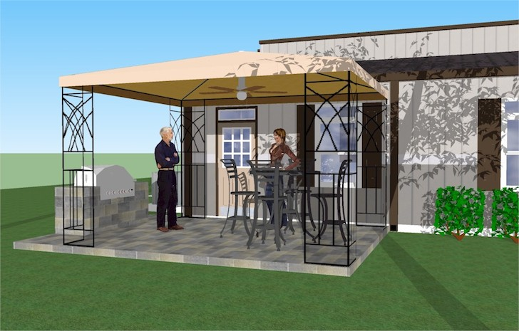 After you return from your trip, bring the party outside to the attached gazebo area