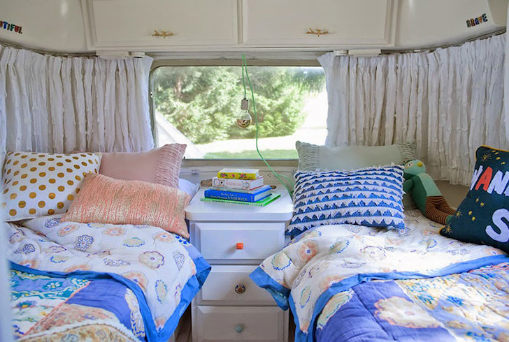 Airstream bedroom with two twin beds