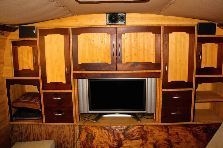 Awesome entertainment area in this homemade Prevost Mirage