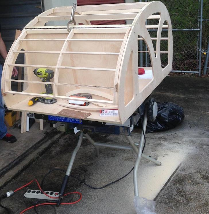 Beginning of a teardrop trailer build for a dog