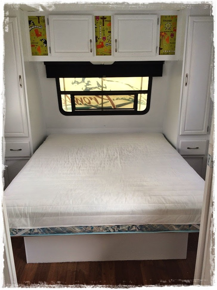 Bright and cheerful bedroom makeover in this Prowler trailer