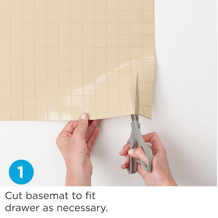 Cut basemat to fit drawer