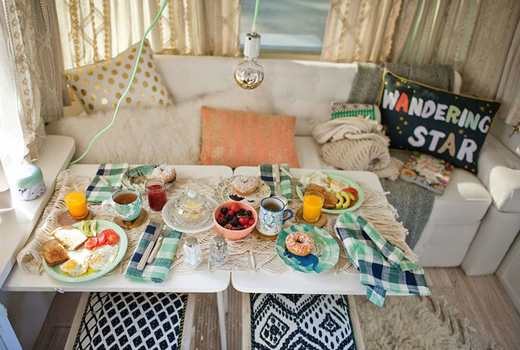 Dining area in a remodeled Airstream