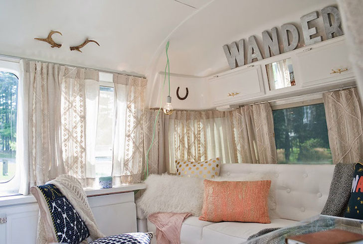 Drapes in a remodeled Airstream trailer