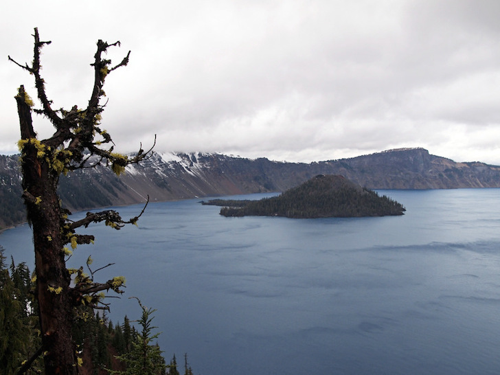 Even on a cold, cloudy day Crater Lake is gorgeous