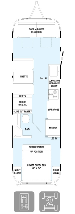 Floorplan for the 2015 Airstream Classic trailer