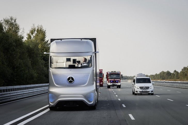 Head on shot of the Mercedes Future Truck