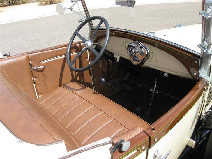 Interior of a 1929 Ford Model A roadster