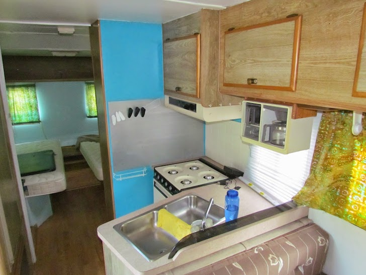 Kitchen area in a 1988 Tioga motorhome