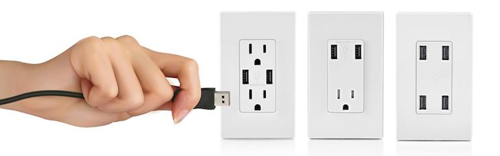 Many types of Leviton USB receptacles