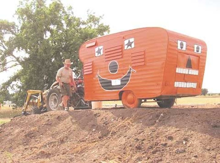 No going back with this pumpkin camper