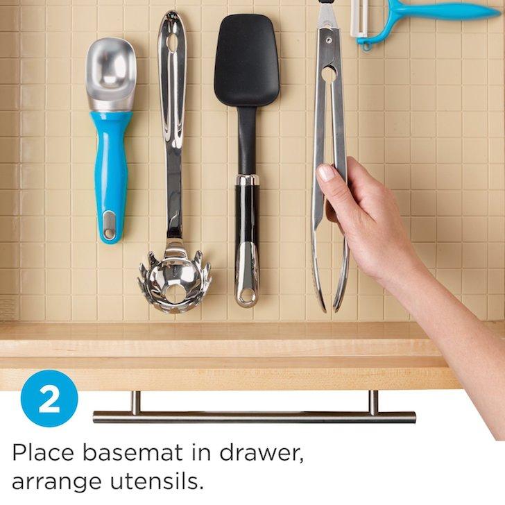 Place utensils on mat as template