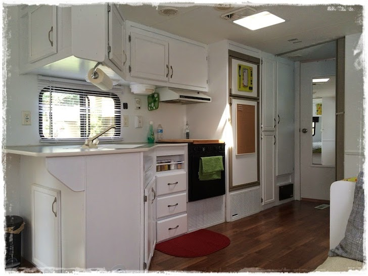 Remodeled kitchen in a 1997 Prowler travel trailer