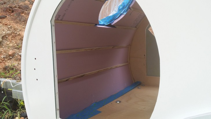 Rigid foam insulation inside the doggie teardrop camper