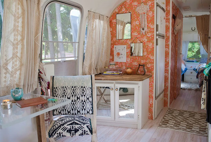 Rose wallpaper in an Airstream