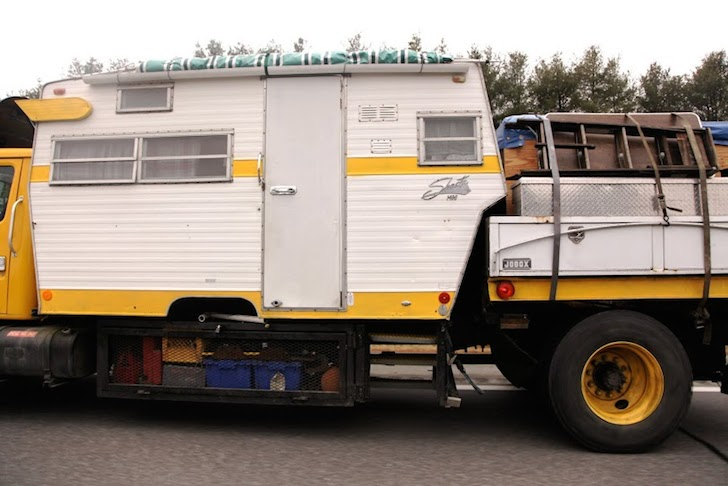 Shasta trailer on a flat bed