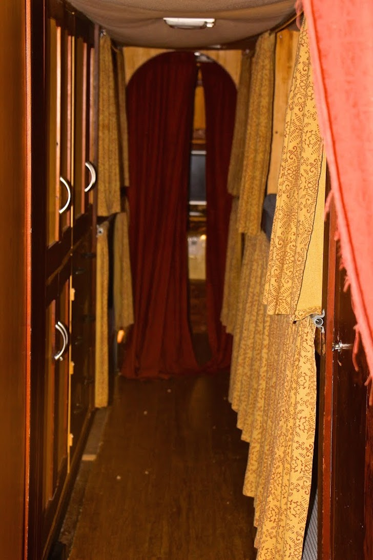 Sleeping bunks in the converted tour bus