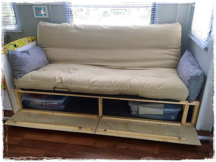 Sofa opens up for lots of storage