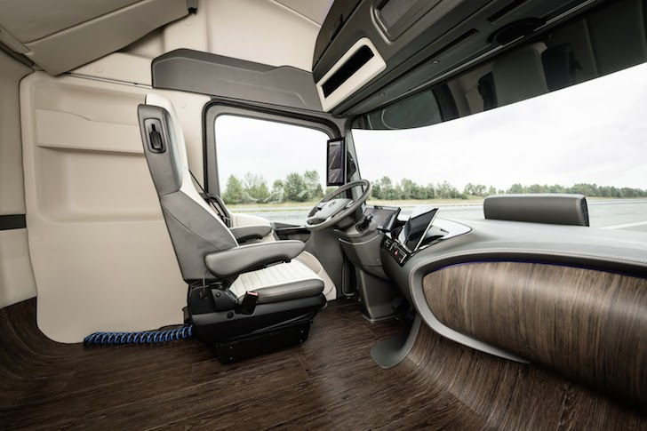 Spacious cockpit in the Mercedes 2025 Truck