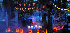 Spooky Halloween setup at campground