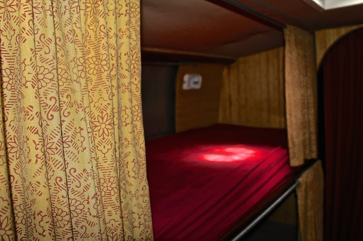 Take a peek inside the bunks in this Prevost