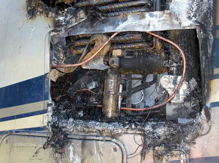 The aftermath of an RV fridge fire