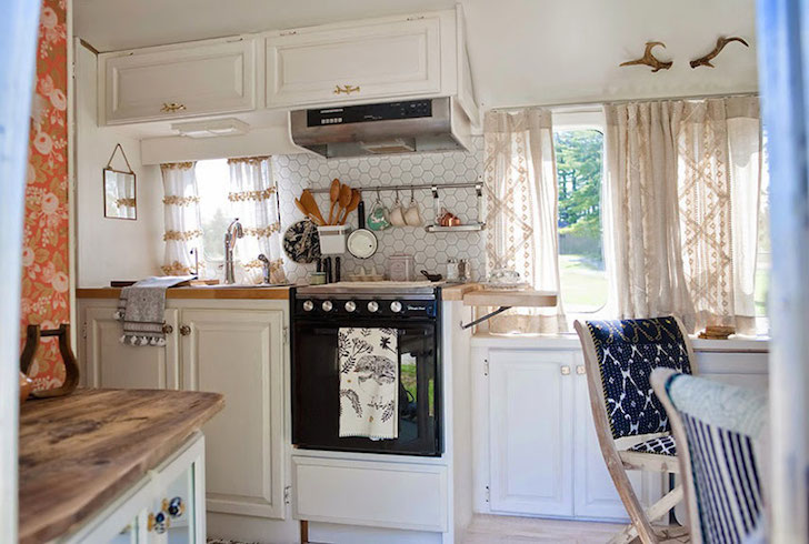 Tiny kitchen in a vintage Airstream travel trailer