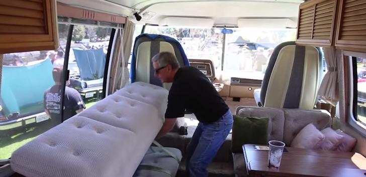 Tony folding down the hammock bed