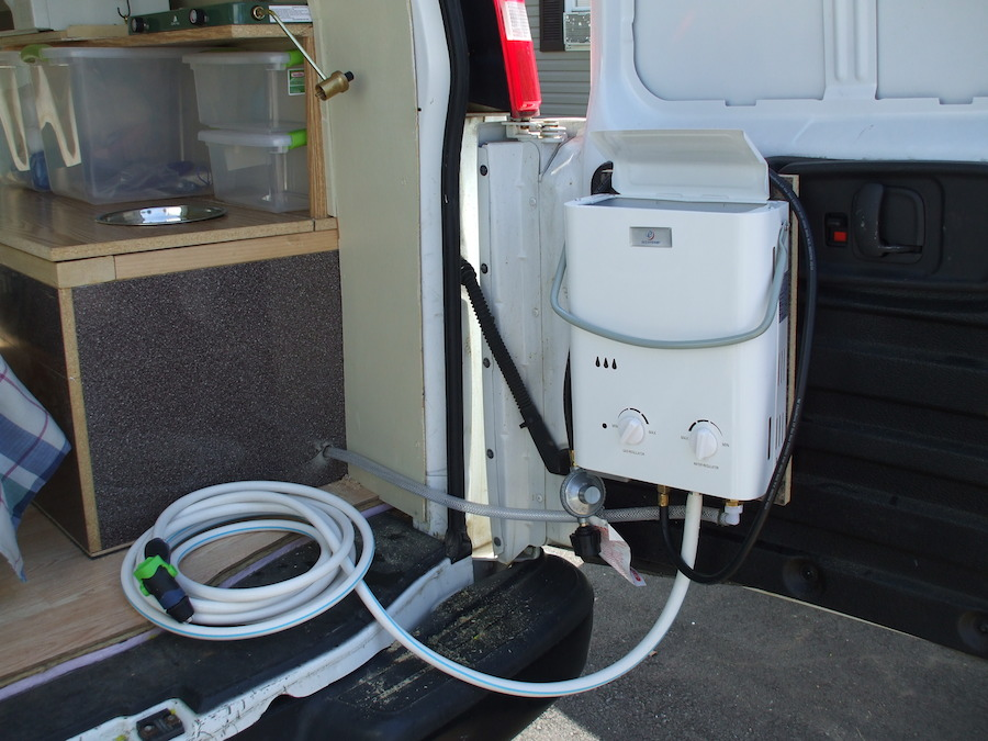 Van shower with tankless water heater