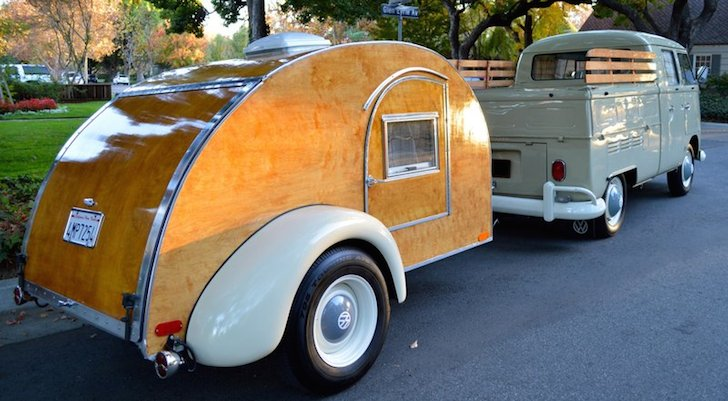 Beautiful teardrop camper and VW Double Cab