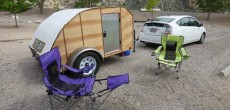 Homemade Super Light Teardrop Trailer Camper Towed By A Toyota Prius.