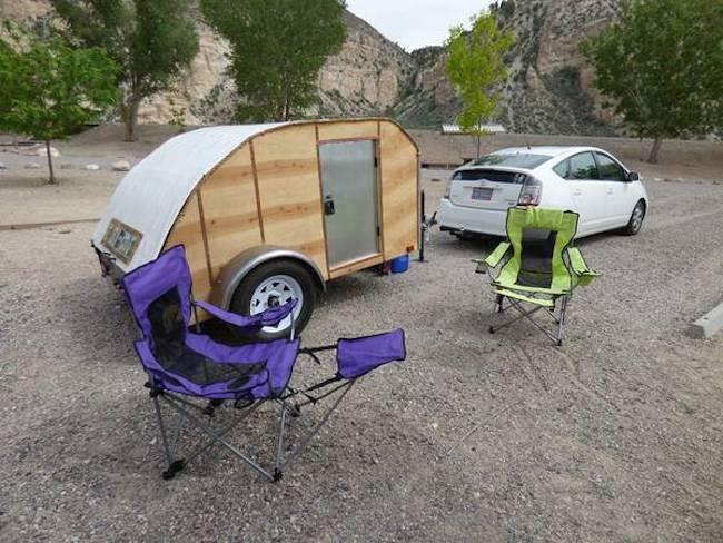 Homemade Super Light Teardrop Trailer Camper Towed By A